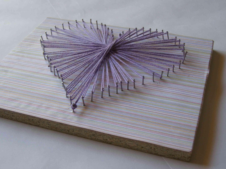 Cuadro de lana con forma de corazón