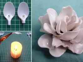 como hacer una flor de cucharas de plastico