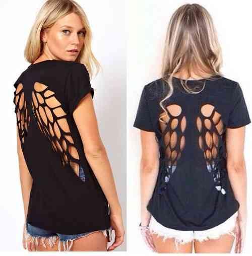 DIY enueva tu camiseta con alas en la espalda