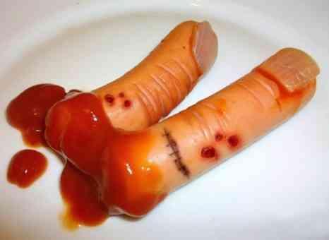 receta para halloween dedos de salchicha