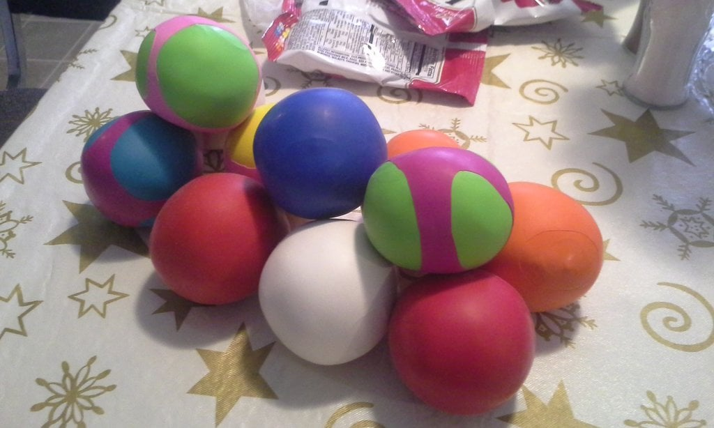 bolas de globo y harina