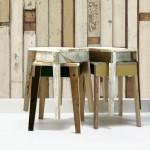 mesas hechas de restos