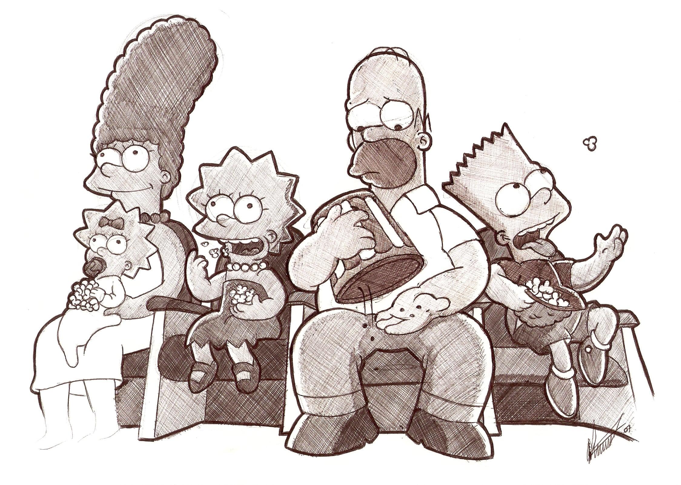 la familia simpsons al completo