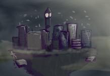 ciudad flotante dibujada