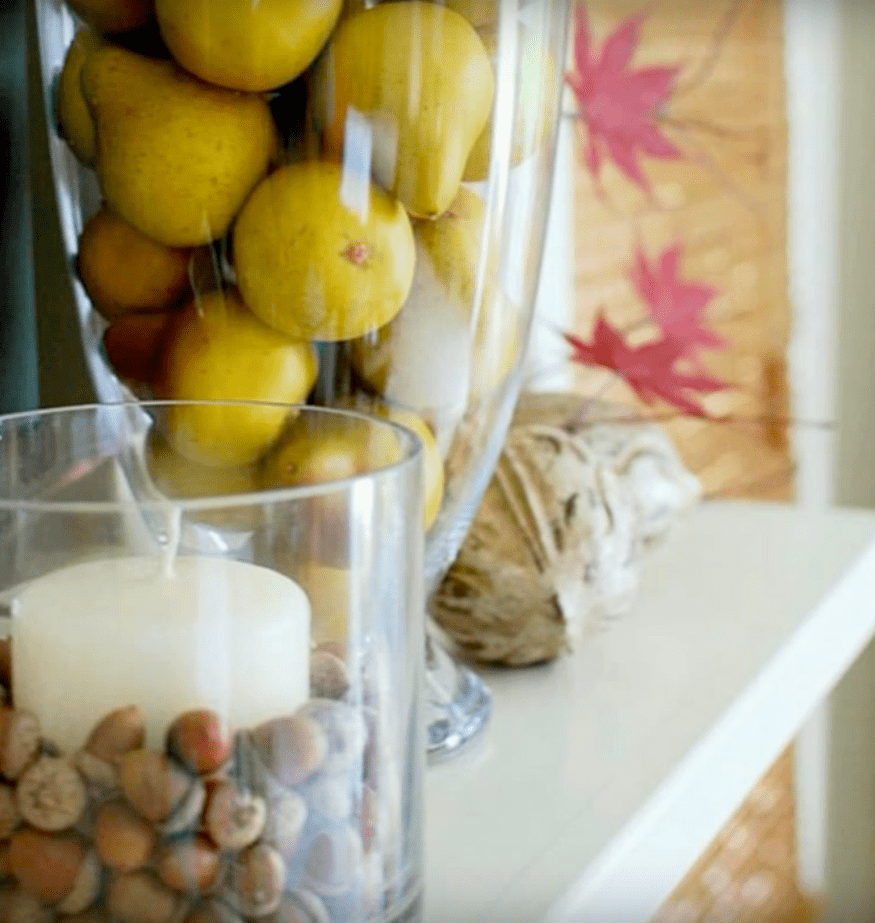 Decorar con frutas y velas