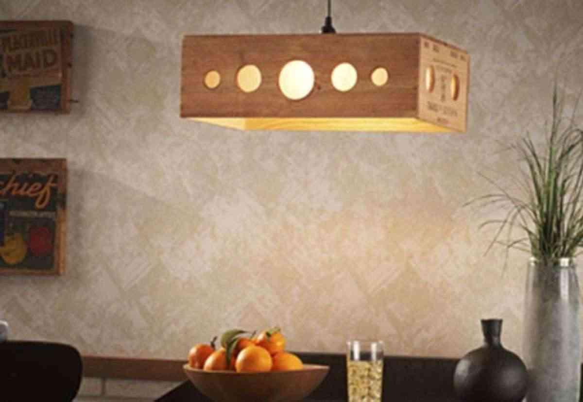 cajas de madera lámpara